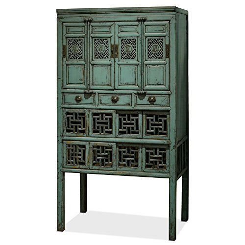 ChinaFurnitureOnline Kitchen Cabinet, Antique Window Style Cabinet Distressed Blue Finish