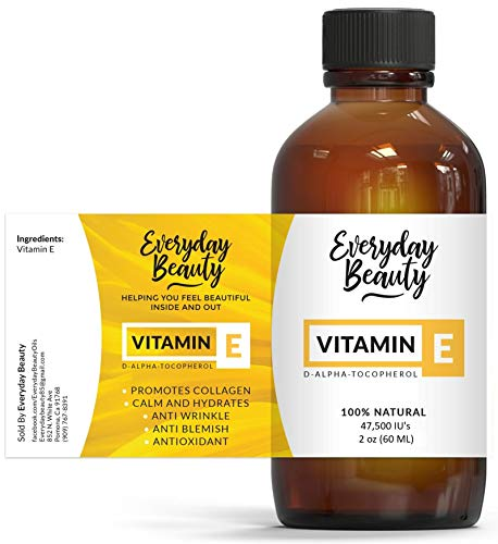 Vitamin E Oil  100% Pure amp Natural 2oz 47500 IU  Unscented Not a Blend Derived From Wheat Germ  Reduce Wrinkles Anti Aging Lighten Dark Spots and After Surgery Scars