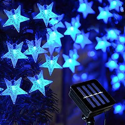 Homeleo Solar Blue Christmas Lights Outdoor, 30FT 50 LED Star Hanukkah String Lights, Waterproof Decorative Lights for Patio Holiday Festive Pathway Outdoor Chanukah Decoration