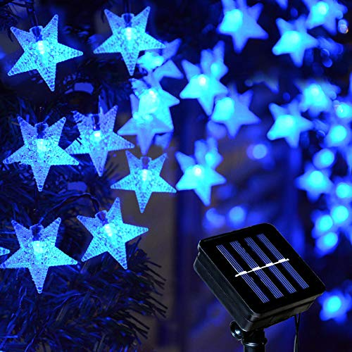 Homeleo Solar Blue Christmas Lights Outdoor, 30FT 50 LED Star Hanukkah String Lights, Waterproof Decorative Lights for Patio Holiday Festive Pathway Outdoor Chanukah Decoration