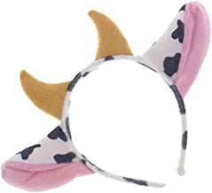 TOYMYTOY Cow Ears and Horns Headband Hairhoop Hair Accessiores for Party Show Performance Cosplay