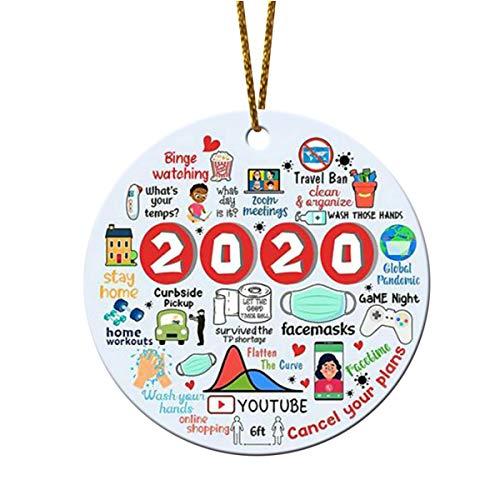 N\P Christmas Ornament 2020, Commemorative Ornament, Pandemic Ornament, Quarantine Ornament, Ceramic Double Sided 2020 Christmas Ornament Decorations (Style - A) (D)