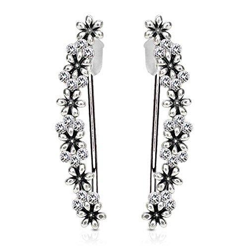 viva-adorno® 1 Paar Damen Ear Crawler Ohrringe Ohrklemme Zirkonia Blumen Ranke Schwarz Silber EC1.D8