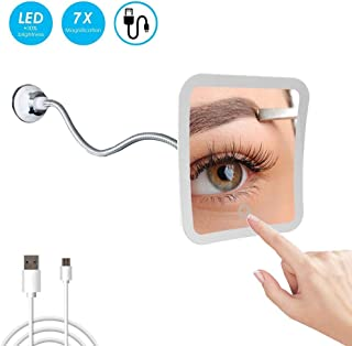 """Makeup Mirror, Flexible Gooseneck 8"""" 7X Magnifying LED Lighted Makeup Mirror, Touch dimming, Strong Suction Cup, 360°Rotation, Daylight, Battery Operated/USB Direct Supply, Travel Mirror"""