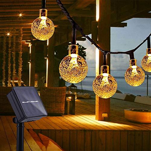 Catena Luminosa Esterno, TOGAVE LED Luce Stringa Solari Lucine 50 LED Lampadines IP65 Impermeabile Luci Da Esterno per Giardino, Matrimonio, Festa Bianco Caldo [Classe di efficienza energetica A+++]