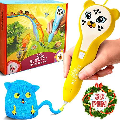 MeDoozy 3D-Stift - Ideales Geburtstagsgeschenk für Mädchen & Jungen – Cooles 3D-Drucker Spielzeug für Kinder und Jugendliche - Bestes Kunst & Bastelset - 3D-Druckstift Kunsthandwerk Geschenke (Gelb)