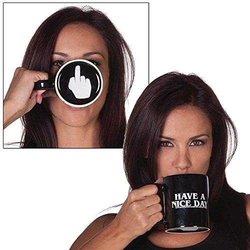 reamtop schwarz Have a nice day Kaffee Becher Mittelfinger Lustige Tasse für Milch Saft oder Tee