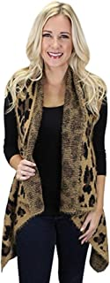 Sunshine & Rodeos Cheetah Leopard Womens Winter Fall Open Vest Top (Brown)