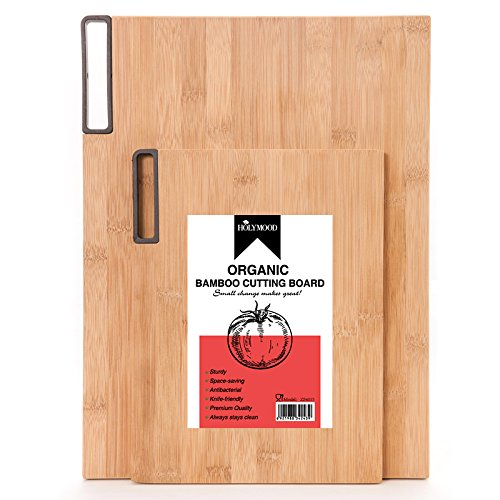 Extra Thick to Stand Organic Cutting Board Bamboo with Juice Groove, Premium Quality, Knife-friendly and Durable, Metal Handle, Easy to Take Around Most Reliable Cutting Board for MomMother
