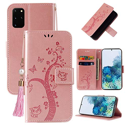 Miagon Portefeuille Flip Coque pour Samsung Galaxy Note 20,Charmant Papillon Arbre Chat Désign PU Cuir Étui Livre Style Supporter Fonction Housse Cover,Or rose