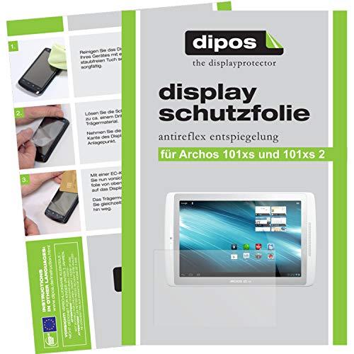 2 x Dipos Protector de pantalla antirreflectante compatible con Archos 101xs y Archos 101xs 2