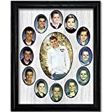 Northland School-Years Picture Frame - Oval Collage - Holds Twelve (12) 2.5' x 3.5' School Wallet Photos and 5' x 7' Kindergarten to Graduation Grad, Black Frame, White Mat