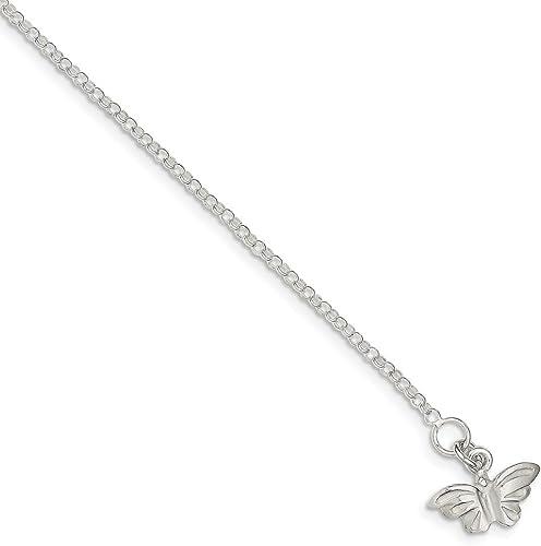 Sonia Jewels Argent Sterling 925Massif 22,9cm Papillon Bracelet de Cheville 22,9cm