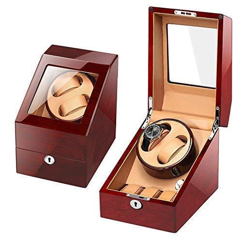 Enrolladores de relojes, caja de almacenamiento de bobinadoras de relojes de madera automática premium 2 + 3 / carcasa de madera / almohada de cuero / pintura de piano / motor alemán / 100% hecho a ma