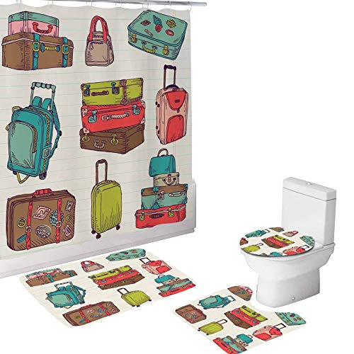 Doodle 4 Pcs Shower Curtain Sets with Non-Slip Rug,Toilet Lid Cover and Bath Mat, Colorful Suitcases Holiday Inspired Travelling Abroad,Durable Waterproof 72'L x 72'W Shower Curtain for Bathroom