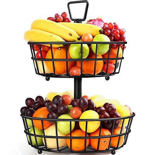 TomCare Cesta de fruta de 2 niveles de metal, cuenco de frutas, cesta de pan, cesta desmontable para productos de frutas, organizador de frutas grande, cestas de almacenamiento para frutas, pan, verduras, aperitivos, color negro