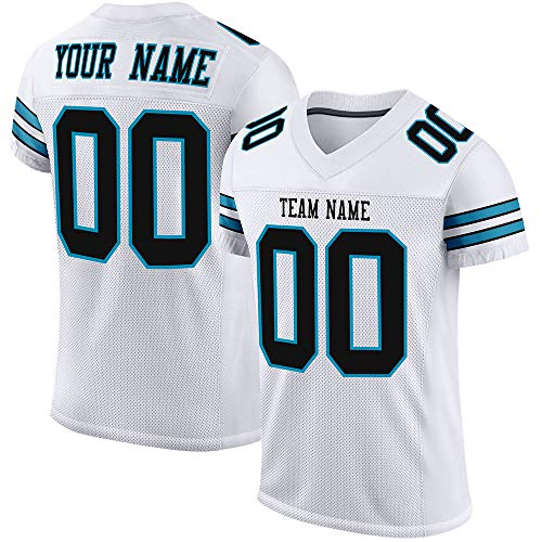Custom Stitched Football Jerseys -Make Your Own Jersey Shits for Men/Women/Youth- Personalized Team Uniform White-Black