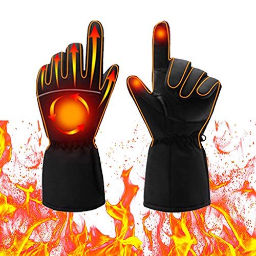 Antetek Heated Gloves, Electric Heat Gloves for Men Women, Battery Powered Waterproof Winter Thermal Gloves, Warm Touchscreen Gloves for Outdoor Sports Cycling Riding Skiing Skating Hiking Hunting