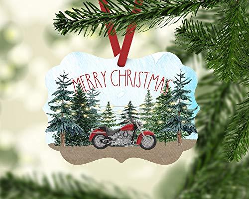 Diuangfoong Merry Christmas Motorcycle Ornament, Christmas Motorcycle Tree Decor, Motorcycle Ornament