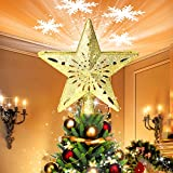Wantu Christmas Star Tree Topper Light with Snowflake Projector, 2020 New 3D Glittering Golden Snow Tree Topper for Christmas Tree Decorations, LED Rotating Stars and Snowflakes