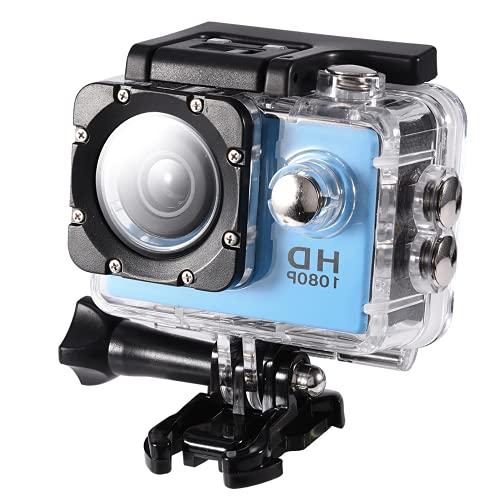 Socobeta Cámara De Acción DV, Mini Videocámara DV Resistente Al Agua con Estuche Impermeable para Películas Fascinantes Deportes Acuáticos para Una Vida Récord(Azul)