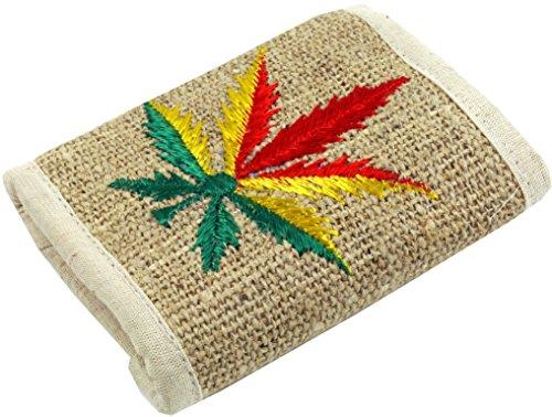 GURU SHOP Hanf Portemonnaie mit Stickerei, Herren/Damen, Rasta Weed, 9x11 cm, Portemonnaies aus Stoff