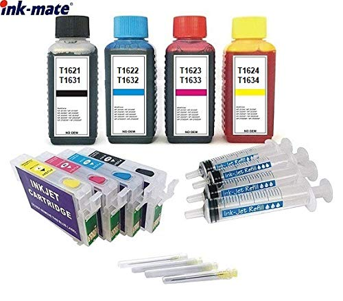 Hervulbare Quickfill Fill-in patronen met auto-resetchips zoals T16 XL - T1631, T1632, T1633, T1634 + 4 x 100 ml Ink-Mate navulinkt