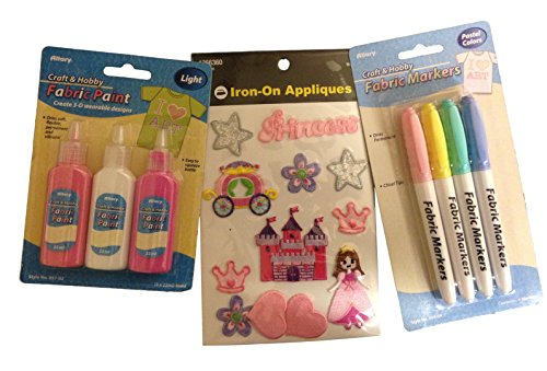 Princess Iron-on Applique, Fabric Marker, and Fabric Paint Clothes Decorating Kit