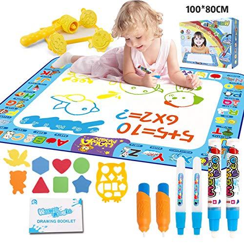Aqua Doodle, Tappeto Magico per Bambini 100 × 80 CM, Atossico ed Ecologico, 6 Pennarelli...