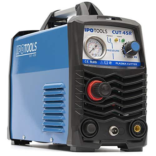 IPOTOOLS Plasmaschneider CUT-45R - Plasmaschneidgerät 45A bis 12 mm Schneidleistung Inverter Schweißgerät Plasma Cutter mit IGBT/HF Zündung/Blau / 230V / 7 Jahre Garantie