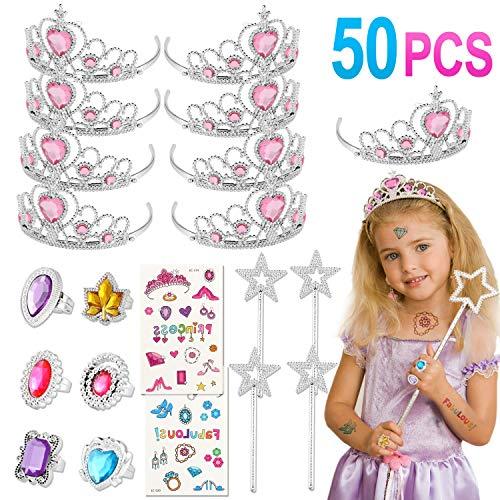 Tacobear 50 Stück Prinzessin Schmuck Mädchen mit Prinzessin Krone Ring Aufkleber Zauberstab Prinzessin Kostüm Mädchen Party Zubehör Spielzeug Schmuck Set für Mitgebsel Kindergeburtstag (Rosa)