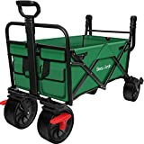 BEAU JARDIN Folding Wagon Cart With Brake Free Standing Collapsible Utility Camping Grocery Canvas Fabric Sturdy Portable Rolling Buggies Outdoor Garden Sport Heavy Duty Shopping Cart Push Wagon Green