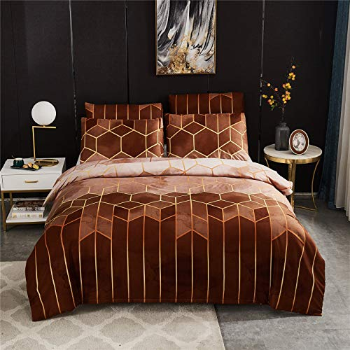 YYSZM Duvet Cover Bedding Light Luxury Gilt Lines Microfiber Fabric Soft And Skin-Friendly 3-Piece Set 200x200cm