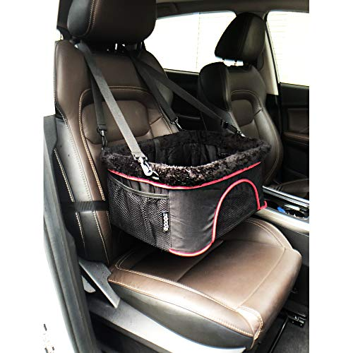 ROODO Autositz für Hunde und Katzen, Premium-Qualität, Metallrahmen, Sicherheits-Leine, Teleskoptasche, perfekt für kleine und mittelgroße Haustiere bis zu 9 kg