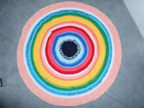 Runder gehäkelter Teppich RegenbogenTeppich Läufer Matte Unterlage Vorleger Fußabtreter moderner Fleckerl- und Baumwollteppichen