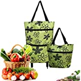 ZAYALI 2 In 1 Foldable Shopping Cart, Shopping Pull Cart Trolley Bag, Food Organizer Reusable Grocery Bags, High Capacity-Collapsible Folding Shopping Vegetables Shopping Organizer Bag (Green)