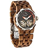 Wilds Dual Wheels Automatic Movement Transparent Dial Men's Wooden Watch