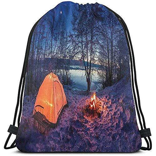 Lemotop Rugzakken Zakken, Donker Nacht Camping Tent Foto In Winter Op Sneeuw Overdekte Lands Door Het Lake, Verstelbare String Sluiting