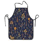 Delantal de Cocina con patrón Floral, Color Azul Marino y Amarillo Mostaza, Delantal de Cocina, Cuello Ajustable y conexión de Cintura Extra Larga para cocinar, Barbacoa, Camarero, etc.