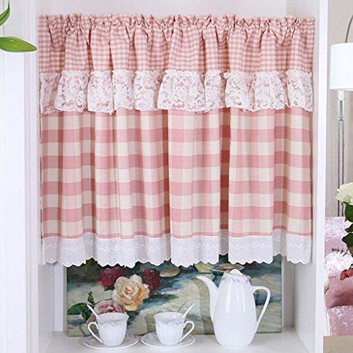 HongYa Visillo de cocina a cuadros, con cordón, para bistró, con encaje, color rosa, 90 x 90 cm