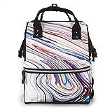 Mochila momia KQJH, pinturas acrílicas, pinturas acrílicas mixtas azul, púrpura y rojo coral, mochila para pañales, bolsas impermeables para pañales de viaje, organizador de mochila multifunción con