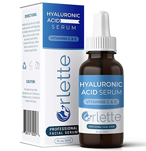 Orlette Hyaluronic Acid Serum for Face with Vitamin C-E, Anti-Aging Hylarounic Acid Serum Improve Hydration and Face Plump, Moisturizing Hyloranic Acid Serum Reduces Fine Line, Wrinkle and Acne Scars