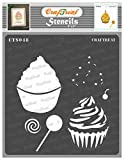 CrafTreat Layered Stencils for Painting on Wood, Canvas, Paper, Fabric, Floor, Wall and Tile - Cup Cake - 6x6 Inches - Cupcake Stencil - Reusable DIY Art and Craft Stencils for Home Decor