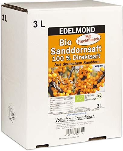 Edelmond® 100% Bio Sanddornsaft mit Fruchtfleisch 3 Liter ✓ Direkt gepresster Fruchtmuttersaft ✓ Ökologischer Anbau ✓ Voller Saft aus erster Pressung ✓ Viel frucheigenes Öl