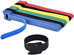 Hmrope 60PCS Fastening Cable Ties Reusable, Premium 6-Inch Adjustable Cord Ties, Microfiber Cloth Cable Management Straps Hook Loop Cord Organizer Wire Ties Reusable (Assorted Colors)