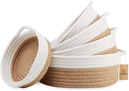 NaturalCozy 5 Piece Round Small Woven Baskets Set 100 Natural Cotton Rope Baskets Key Tray Kids product image
