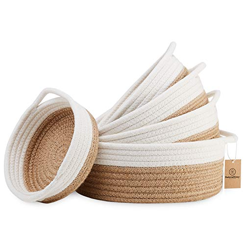 NaturalCozy 5-Piece Round Small Woven Baskets Set - 100 Natural Cotton Rope Baskets Key Tray Kids Montessori Toys Bowl for Entryway Jewelry Remote Fruits Desk Home Decor Shallow Catchall Baskets