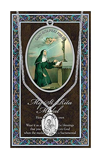 Church Supply Warehouse ST Rita Medaille mit Gebet Pamphlet–Echter Zinn