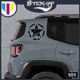 1Kit Adesivi - 2 Pezzi Stella Militare Vintage fiancata Posteriore - 20x20 cm - Fuoristrada 4X4 Fiancate Cofano Jeep Renegade Suzuki Offroad Adesivi Stickers Fiancate AUT Decal (Nero)
