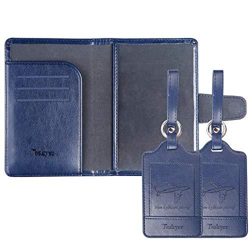 ネームタグとパスポートケース 紛失防止 スーツケースタグ 出張用タグ ネームタグ 番号札 バッグ用ネームタグ レザー 旅行タグ トラベル用 海外旅行 旅行小物(青 1つパスポートケースと2つネームタグ)